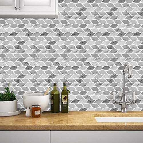 Tic Tac Tiles - Premium Anti Mold Peel and Stick Wall Tile Backsplash in Foglia Design (Grigio, 6) by Tic Tac Tiles (Image #4)