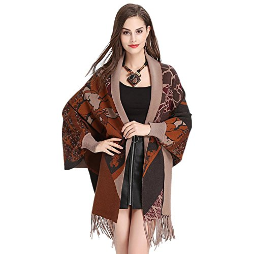 femminile stampato Women vento gli maglia pipistrello Uniti Fashion Khaki cardigan nappe maniche Stati cappotto e Europe mantello ZwHCZ