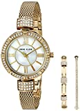 Kyпить Anne Klein Women's AK/2844GBST Swarovski Crystal Accented Gold-Tone Mesh Bracelet Watch and Bangle Set на Amazon.com