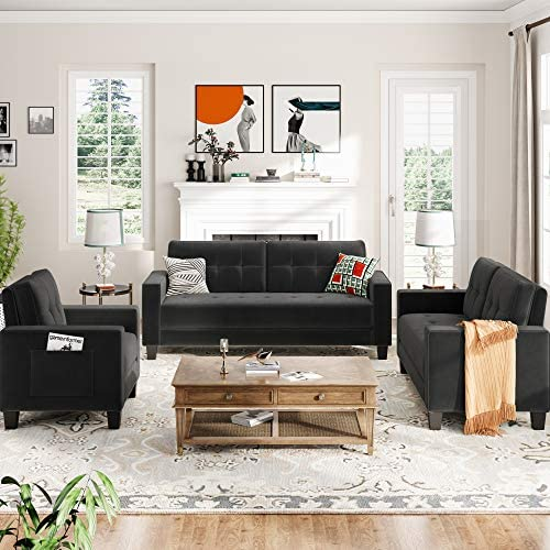 kupet 3 Pieces Sectional Sofa Set for Living Room, Include Three-Seat Couch, Loveseat and Armchair, with Side Pockets, Velvet, Black