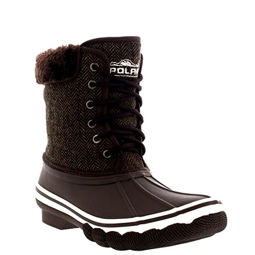 Polar Products Womens Rubber Sole Deep Tread Winter Textile Snow Rain Boots Brown 6TAtH1