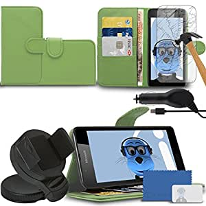 iTALKonline Microsoft Lumia 540 Green PU Leather Executive Multi-Function Wallet Case Cover Organiser Flip with Credit / Business Card Money Holder Integrated Horizontal Viewing Stand, Tempered Glass LCD Screen Protector, 360 Degrees Rotating Case Compatible In Car Windscreen Suction Mount Holder and 1000 mAh Coiled In Car Charger LED Indicator and Overload Protection