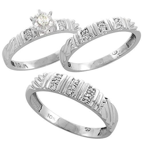 Sterling Silver Diamond Wedding Rhodium