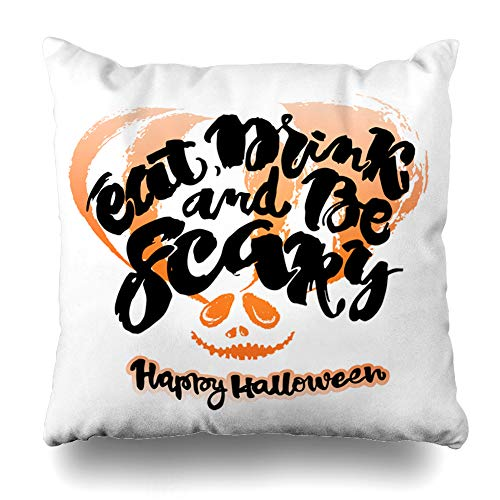 LALILO Throw Pillow Covers Halloween Lettering Inspirational with Eat Drink and Scary Quote Double-Sided Pattern for Sofa Cushion Cover Couch Decoration Home Bed Pillowcase 18x18 inch -