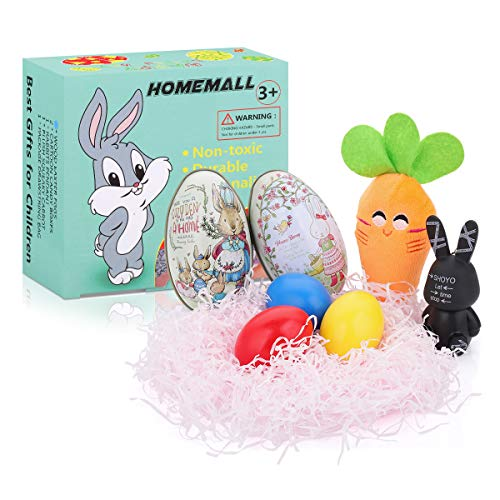 HomeMall Easter Eggs Wooden for Kids - Painted Easter Egg Decorator Kit - Red, Yellow, Blue, Easter Candy Case, Easter Rabbits Included - 9 Pack