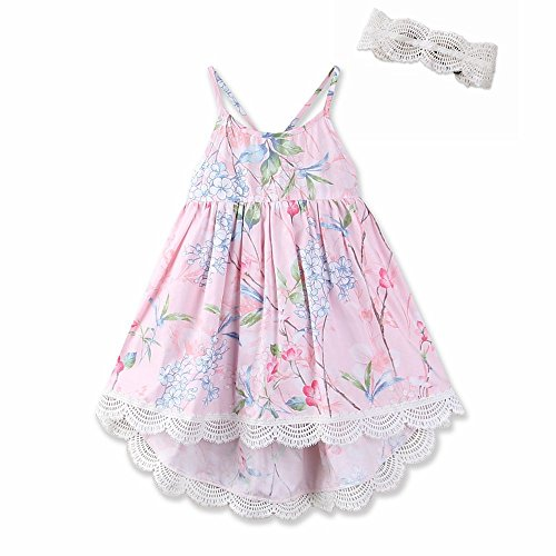 Straps Dress Girls (AOVCLKID Kid's Summer Straps Beach Skirt Girls Vintage Floral Dress (5/6, Pink))