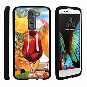 TurtleArmor | LG K7 Case | LG Tribute 5 Case | LG Treasure Case [Slim Duo] Fitted Ultra Compact Slim Hard Cover Matte Snap On Shell on Black Beach Design - Cherry Cocktail