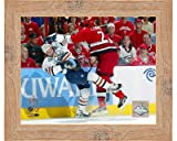 Framed Mike Commodore 2006 Stanley Cup / Game 1 Hit- 10x8 Inches - Art Print (Natural Knotty Frame)