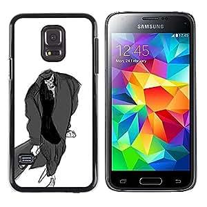 LECELL--Funda protectora / Cubierta / Piel For Samsung Galaxy S5 Mini, SM-G800, NOT S5 REGULAR! -- Man Bat Pencil Drawing Art Zombie Cartoon --