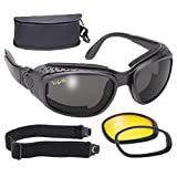 Pacific Coast Airfoil Windproof Lens Kit (Black Frame/Smoke, Yellow, Clear Lens) by Pacific Coast Sunglasses
