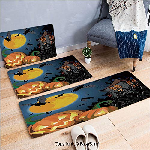 3 Piece Fashion Flannel Door Mat Carpet Gothic Halloween Haunted House Party Theme Decor Trick or Treat for Kids for Door Rugs Living Room(W15.7xL23.6 by W19.6xL31.5 by W35.4xL62.9)