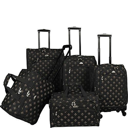 American Flyer Fleur De Lis 5-Piece Spinner Luggage Set, Black, One Size by American Flyer