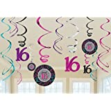 Amscan Chic Sweet Sixteen Birthday Celebration Value Pack Swirl Party Decoration (12 Pack), Multi Color.
