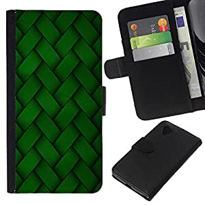 All Phone Most Case / Oferta Especial Cáscara Funda de cuero Monedero Cubierta de proteccion Caso / Wallet Case for LG Nexus 5 D820 D821 // Green Embroidery Pattern Wallpaper Random