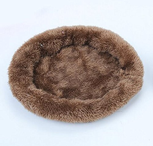 Comfortable and Warm Washable Small Animal Round Pad Mat Sleeping Bed Nest (L, Brown)