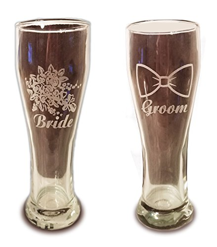 Laser Engraved Bride and Groom Glasses - 15 oz Pilsner Beer Glasses - Wedding Toasting Set of 2 - Couples Gifts - Engagement Gift - Original Wedding Gifts - Custom (Shark Glass Pilsner Glass)