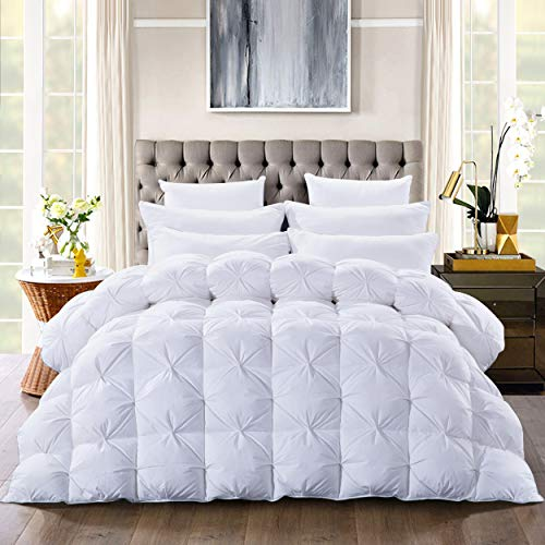 Luxurious Goose Down Comforter Queen Size Duvet Insert, Pinch Pleat Design,750+ Fill Power 54oz Fill Weight, 1200 Thread Count 100%Cotton Shell Hypoallergenic Down Proof with 8 Tabs(Pinch Pleat,Queen)