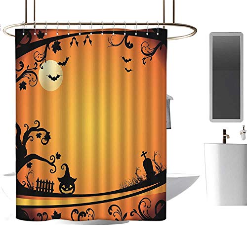 MKOK Rustic Shower curtain54 x78 Vintage Halloween,Halloween Themed