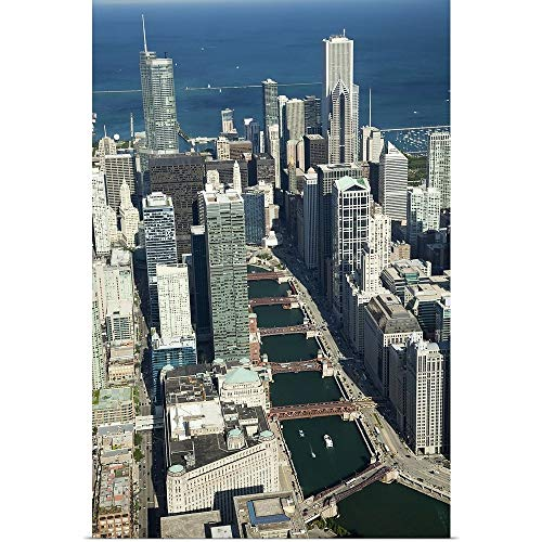 GREATBIGCANVAS Poster Print Entitled Aerial View of a City with Lake Michigan in The Background, Trump Tower, Chicago River, Chicago, Cook County, Illinois by 12