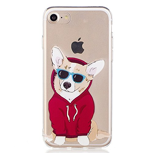 Cute Case For iPhone 7, GreenDimension Embossed Adorable Dog Pattern Ultra Slim Transparent Soft TPU Premium Silicone Hybrid Flexible Shock Absorption Protective Skin Clear Cushion Bumper Back - Does Insurance Sunglasses Cover