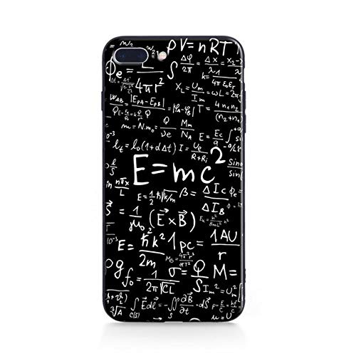 Black Physic Formula iPhone 8 Plus Case Bigger Screen E=MC Square Numbers Math Formula Printed iPhone 7 Plus Cover Equations Diagram Albert Einstein iPhone Back Case Boys Girls Students Slim Soft TPU