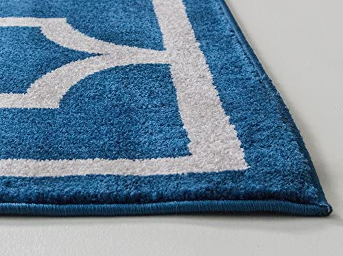 Super Area Rugs Modern Trellis Transitional Rug Blue Ivory White, 7 10 x 9 10