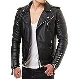 Prestige Homme MR18-4 Herren Kunst Lederjacke Biker Jacke Gesteppt Schwarz Rot S-XXL, Größe:M;Farbe:Schwarz