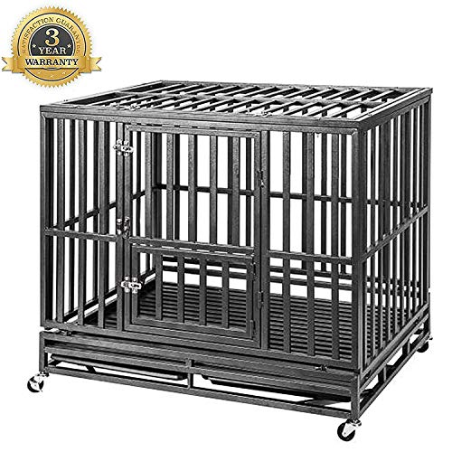 Heavy Duty Dog Crate Strong Metal Pet Kennel Playpen with Two Prevent Escape Lock, Large Dogs Cage with Wheels, Black