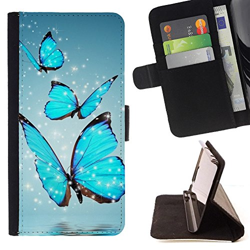 God Garden - FOR Apple Iphone 5C - Butterfly - Glitter Teal Purple Sparkling Watercolor Personalized Design Custom Style PU Leather Case Wallet Fli