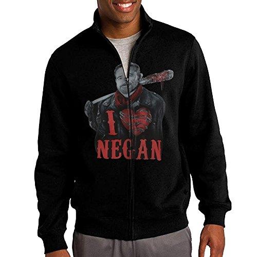 [Zepu Men's Sweatshirt The Walking Dead I Heart Negan Full-zip Hoodie Jacket L Black] (Lightning Full Zip Hoodie)