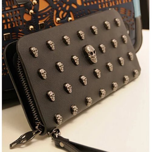 EYX Formula Retro Punk Skull Wallet Long section Handbags Wallet, High-grade PU Leather Black Women Zipper wallet purse for Storing money Card