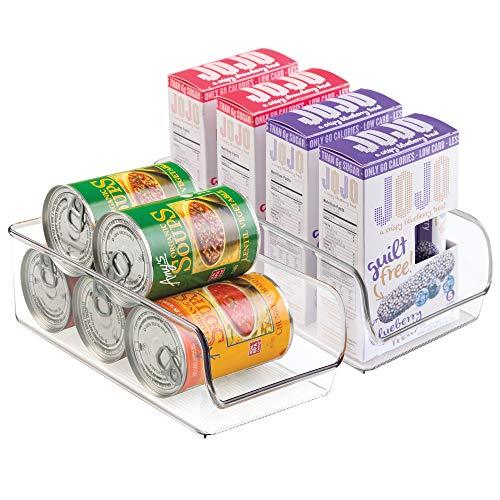 InterDesign Linus Plastic Fridge and Freezer Storage Organizer Bin, Clear Container for Food, Drinks, Produce Organization, BPA-Free , 11 x 5.5 x 3.5, Set of 2, Clear