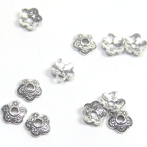 - 10 Pcs 925 Sterling Silver Flower Bead Caps Ethnic Bead Cap / Finding / Antique / 5mm