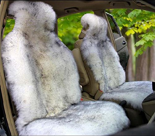 OFLBA Whole Hide 1pcs Genuine Australia Sheepskin Car Seat Cover Winter Fur Wrap Seat Covers Cushion Airbag with Gray Tip Universal Fit Long ()