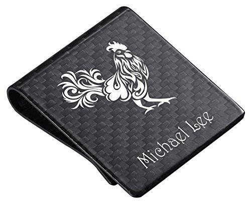 Emblem Lighter Free Gift (Personalized Carbon Fiber Wide Money Clip Rooster Emblem)