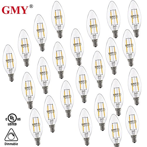 24 Pack- B11 Led Chandeliers Light Bulb Dimmable E12 Base 2.8W 2700K Equivalent 20W Incandescent Candelabra Filament Home Decorative GMY Lighting
