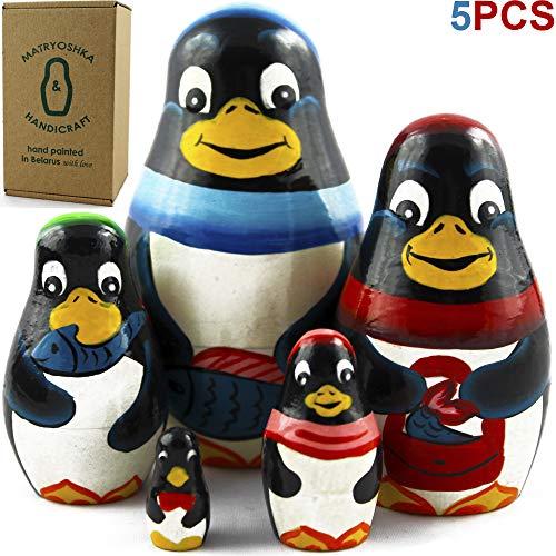 Penguin Nesting Dolls - MATRYOSHKA&HANDICRAFT Penguin Nesting Dolls 5 Pieces - Penguin Animal Toys - Penguin Room Decor