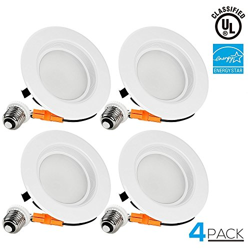 4 PACK Wet Location 4-inch Dimmable Recessed LED Downlight, 13W (85W Equivalent), ENERGY STAR, 5000K Daylight, 800lm, Retrofit LED Recessed Lighting Fixture, 5 YEAR WARRANTY -