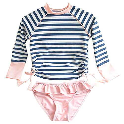 - Kids Swimsuits Girl's Two-Piece Long Sleeve Sun Protection Swimsuits Stripe Bathing Suit UPF50+ Rash Guard 115