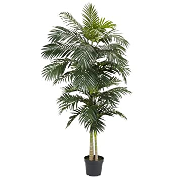 Nearly Natural 5326 Golden Cane Palm Silk Tree, 8-Feet, Green