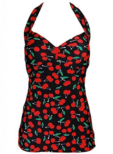Cherry Retro Pin up Halter Neck Rockabilly Swimsuit Swimwear - Large (FBA)