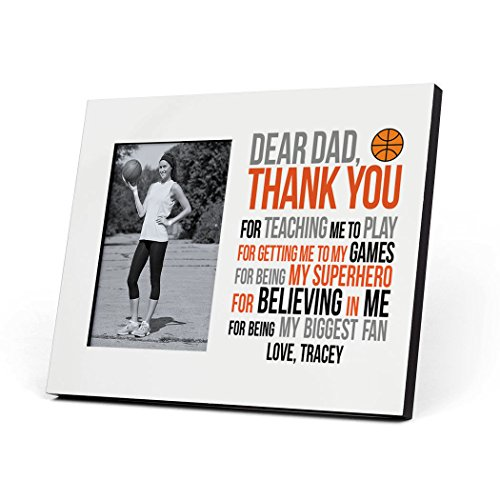 ChalkTalkSPORTS Personalized Basketball Photo Frame | Dear Dad Picture Frame | Gray-Orange