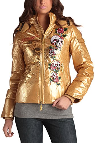 Ed Hardy Womens Roses (Ed Hardy Womens Skull Roses Puffer Jacket -Gold)