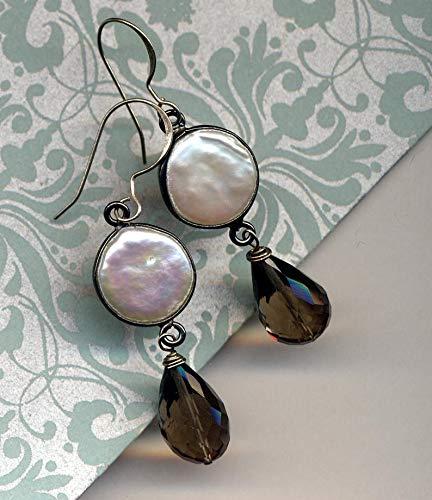 (Natural Pearls Earrings, Sterling Smokey Quartz Earrings, Sterling Silver Earrings, Long Earrings)