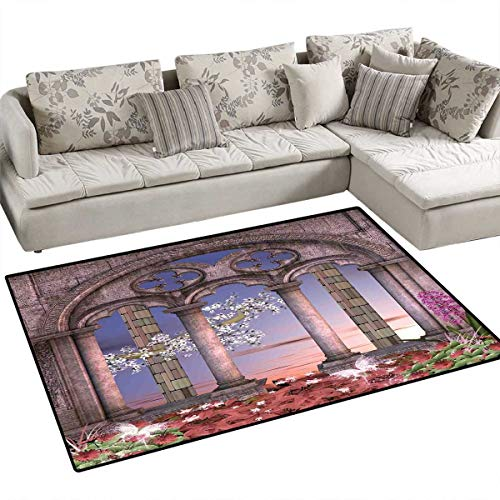 Gothic Bath Mats Carpet Ancient Colonnade in Secret Garden with Flowers at Sunset Enchanted Forest Door Mats for Inside Non Slip Backing 4'x6' Grey Blue Lilac Red