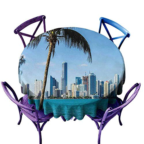 AndyTours Indoor/Outdoor Round Tablecloth,Coastal,Miami Downtown with Biscayne Bay Buildings and Palm Tree Panoramic Art,for Events Party Restaurant Dining Table Cover,60 INCH Sky Blue Aqua Green -