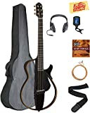 Yamaha SLG200S Steel String Silent Guitar - Trans Black Bundle with Gig Bag, Headphones, Tuner, Strap, Strings, Austin Bazaar Instructional DVD, and Polishing Cloth