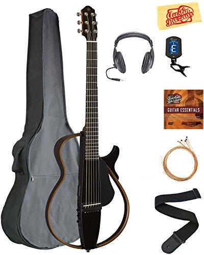 Yamaha SLG200S Steel String Silent Guitar - Trans Black Bundle with Gig Bag, Headphones, Tuner, Strap, Strings, Austin Bazaar Instructional DVD, and Polishing Cloth