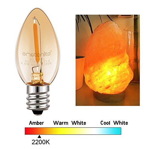 Night Light Bulbs, Emotionlite Amber LED C7 Bulb, 4W 5W 6W 7W Equivalent, E12 Candelabra Base, Salt Lamp and Nightlight Replacement Bulb, 0.5W, Amber Yellowish 2200K, 50LM, Amber, 6 Pack