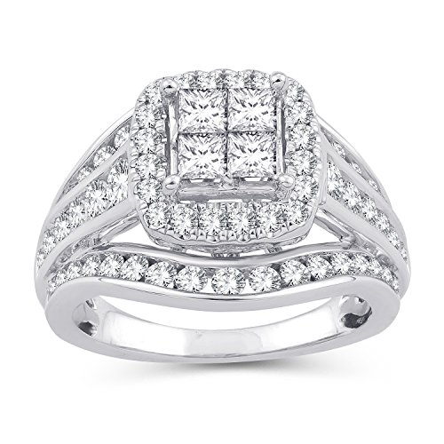 (2.00 Ct.Wt. Princess Invisible Quad Square Frame Halo Diamond Ring in 10K White Gold(IJ/I2-I3) (8))